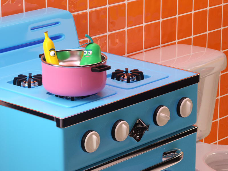 KITCHEN! octane cocina banana pear character render c4d kitchen