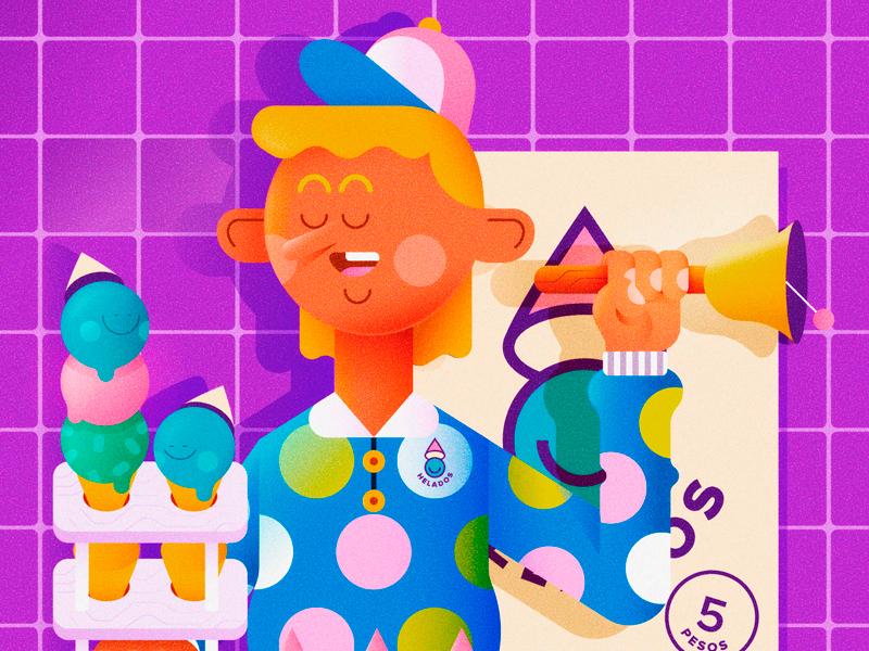 HELADOS icecream helado people persona vector character