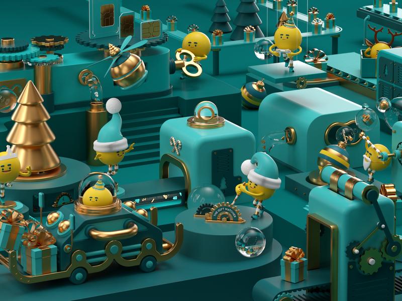 MÁQUINAS people illustration octane c4d render 3d character