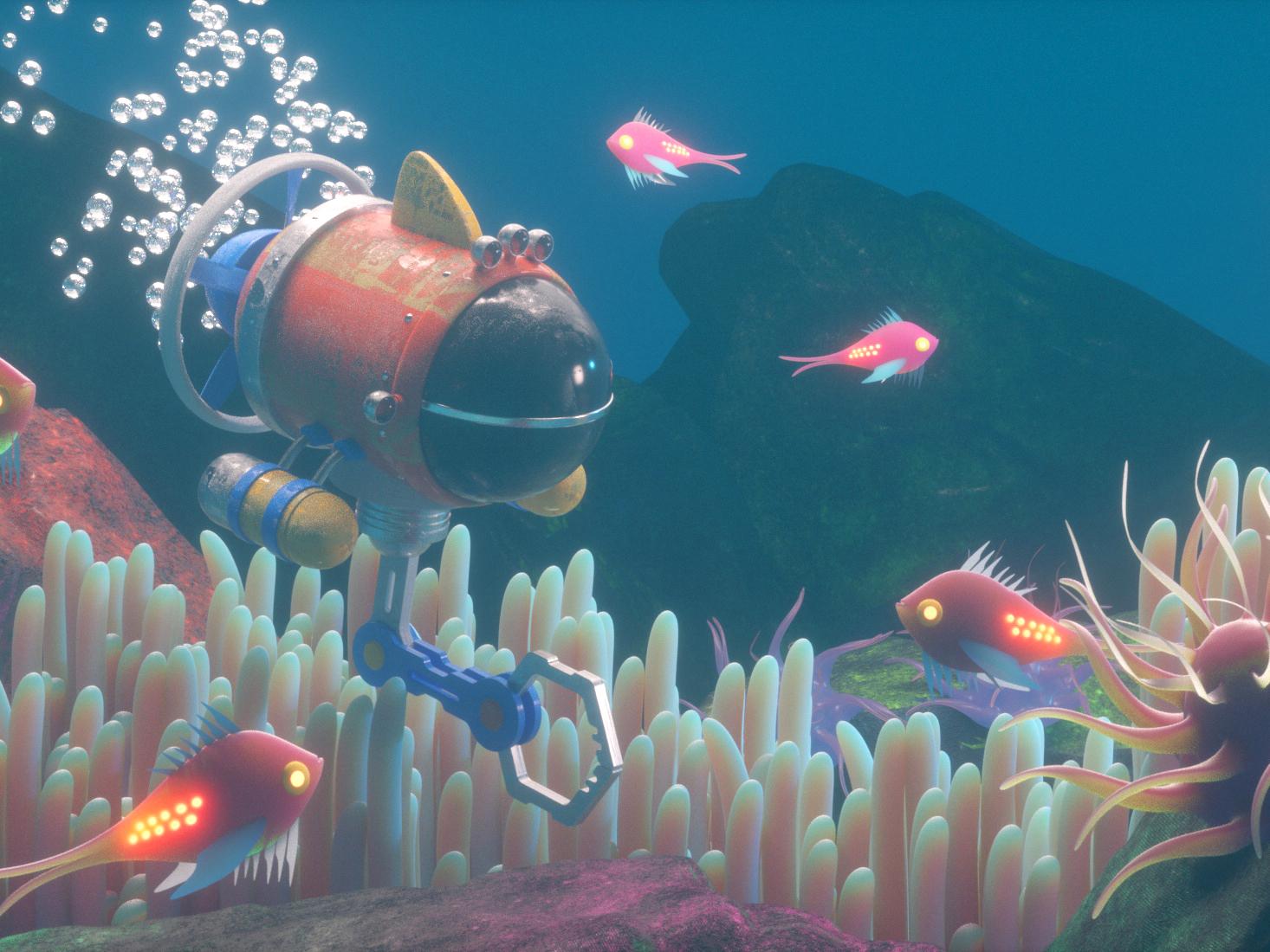 SUBMARINO submarine fish illustration octane vector character 3d c4d render
