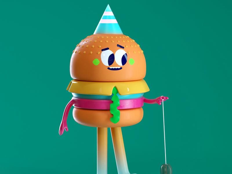 BURGER! tie burger illustration octane vector c4d 3d render character