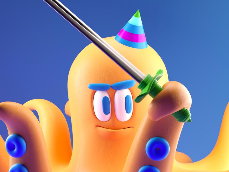 PULPO pulpo octopuss illustration persona octane c4d render 3d character