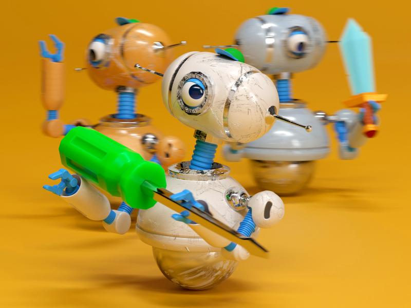 ROBOTS robot illustration man octane c4d 3d render character