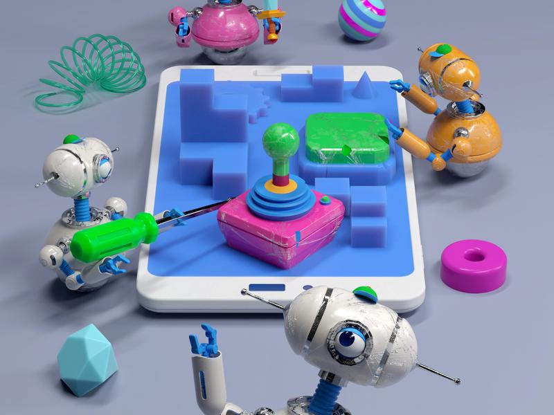 ROBOTS robot people illustration octane 3d c4d render character