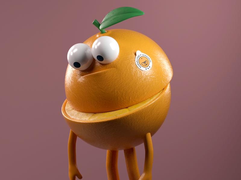NARANJA naranja orange food illustration persona octane vector 3d c4d render character