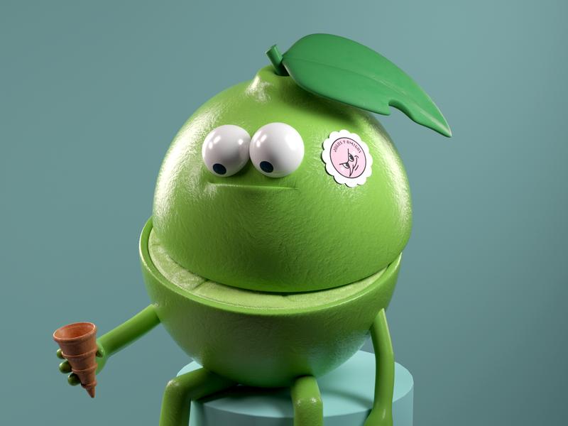 LIMÓN lemon food people illustration persona 3d vector render c4d character