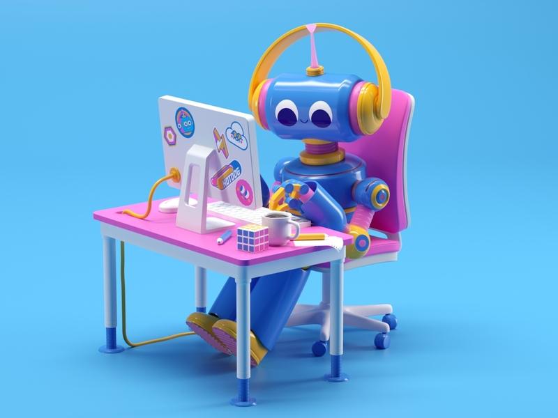 Can robots work remotely too? remote remote work render robot designer design cinema4d cgi c4d 3d