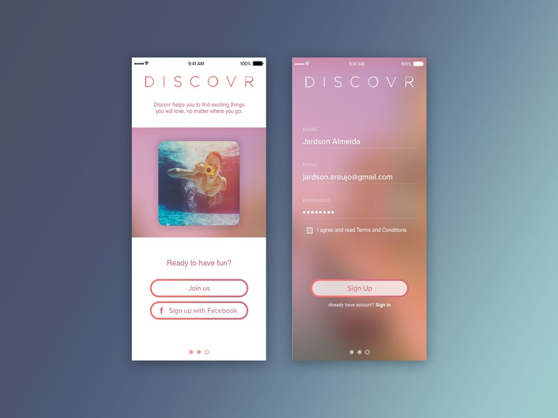 Daily UI 001 Sign up dailyui 001 dailyui visual design ui app design