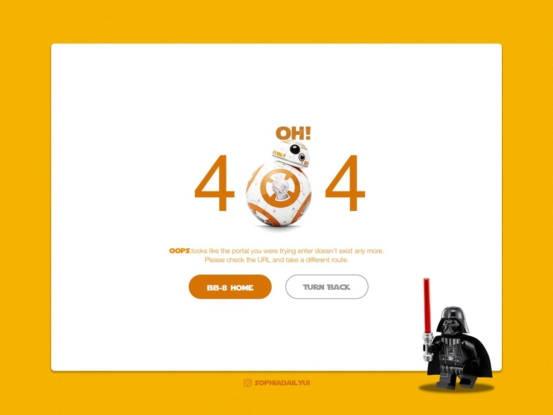 Let's take you to another galaxy! 404 error page design bb8 dailyui008 web design webui design app branding 100daychallenge ui visual design starwar ux dailyui dailyuichallenge