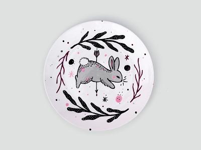 Handpainted Ceramic Dish / Bunny traditional art ceramic design graphic design handpainted hand drawn illustration