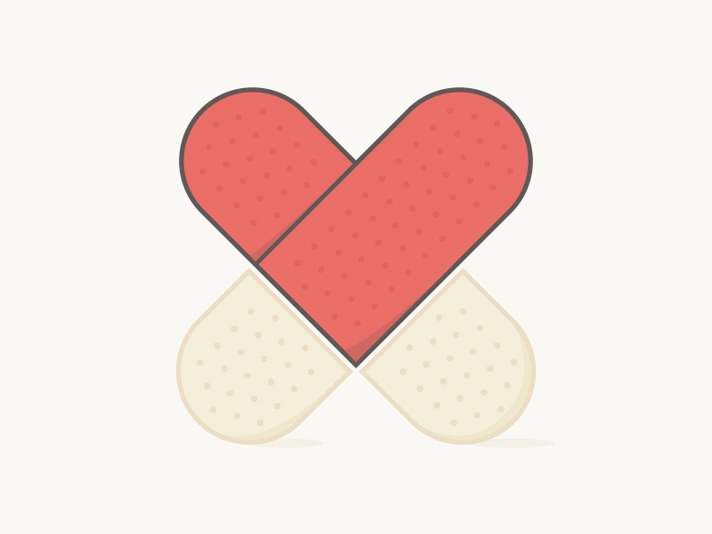 If only band-aids fixed every cut... valentines day breakup divorce love band-aid bandaid heart hurt cut coping illustration