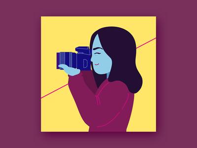 Photographer vector art simple character flat design vector illustration