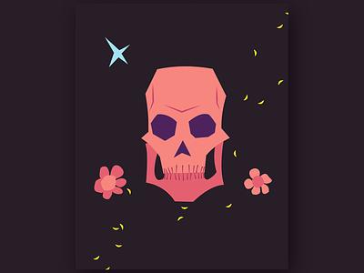 Colourful Skull flower petals petals flowers skull vector art vector simple illustration flat
