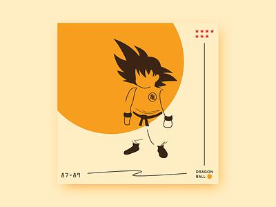 Dragonball square poster kid goku goku dragon ball dragonball design character vector art vector simple illustration flat