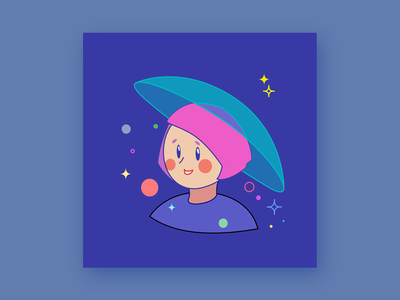 Umbrella Constellation stars cute illustration umbrella cute design character vector art vector simple illustration flat