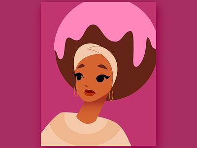 Ice Cream Hair ice cream design character vector art vector simple illustration flat