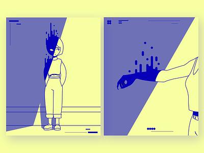 Shadow girl 1 & 2 monoline illustration monoline risoprint shadow character vector art vector simple illustration flat