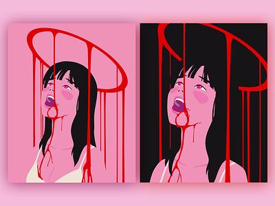 Bleeding halo lineless minimal blood halo character design vector art vector simple illustration flat