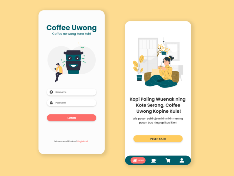 Mobile Application - Coffee Uwong branding design inspiration coffeeshop coffee illustrator flat ux ui uiux mobile app design mobile design mobile app mobile ui mobile