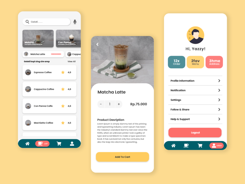 Mobile Application - Coffe Uwong List minimal illustrator coffee cup coffeeshop coffee branding illustration design ux uiux ui mobile app design mobile design mobile app mobile ui mobile