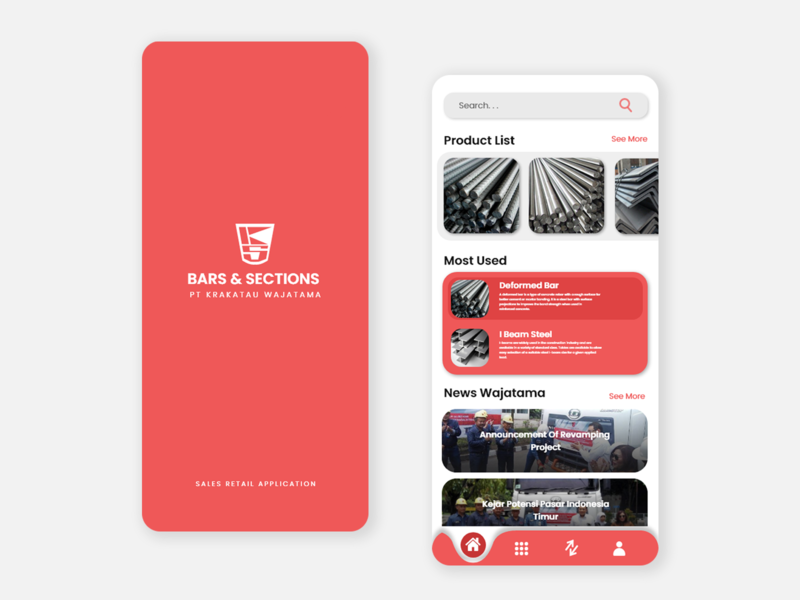 Mobile Application - KS Wajatama baja steel bars minimal flat illustration ui ux design mobile app design mobile design mobile app mobile ui mobile