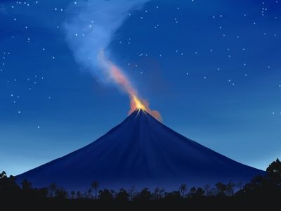 Mayon drawing landscape illustration ipadproart procreate landscape