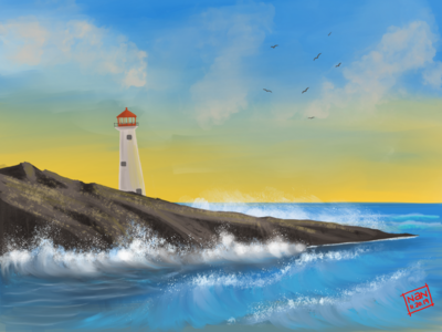 Seaside sea drawing procreate ipadproart illustraion