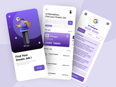 Job Finder Mobile App clean ui concept clean app illustration search job job finder app mobile design mobile app mobile ui mobile app job listing finder job job finder jobseeker job application finder jobs job