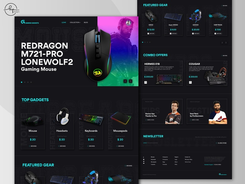 Ui Design - Gaming Gadgets landing page ecommerce 3d homepage homepage design landingpage branding website gaming gaming website typogaphy colorscheme uidesign darktheme website design webdesign black ui design ui