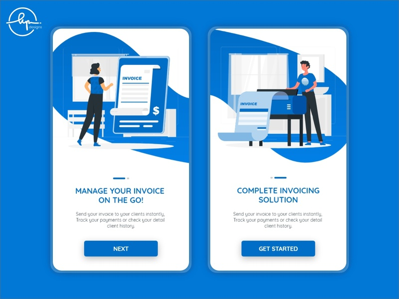 Onboarding screens - Invoicing app get started vector human illustration mockup dribbble best shot ux ui design mobile app mobile app design uiux blue invoice design invoicing ui uidesign onboarding ui illustration onboarding screens onboarding