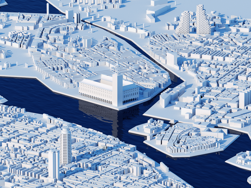 Icy Stockholm 🧊 vray miniature art isometric winter ice blue city illustration city guide city buildings map sweden stockholm illustration maya 3d render 3d artist 3d art 3d