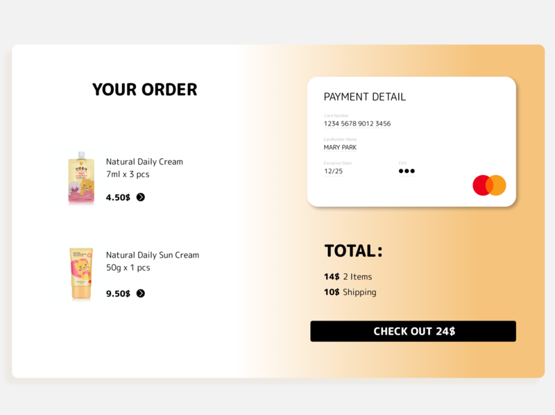 Daily UI 002 online shop mastercard kakaotalk kakao kakaofriends order payment checkout page daily ui 002