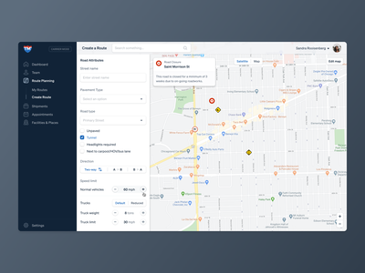 TruckMap application dashboard saas app user experience user interface ux ui design