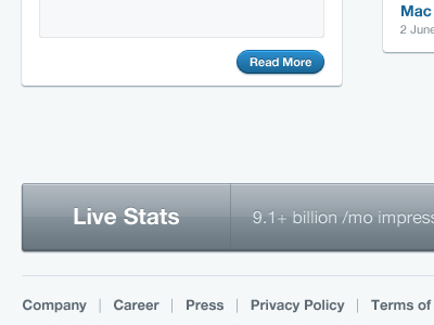 Love me some Live Stats live stats read more buttons blue grey faded interface ui ux iser interface user experience