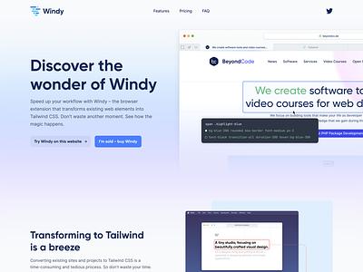 Windy 🌪 landing page homepage marketing homepage website website designer website design user experience user interface ux ui design