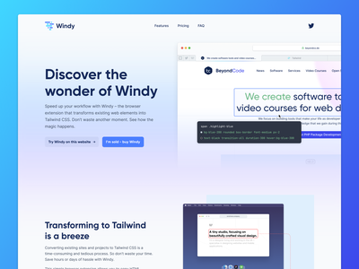 Windy 🌪 landing page homepage marketing homepage website website designer website design user experience user interface ux ui design