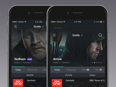 TV Guide 1x 2x retina ui design ios tv ios tv app ux ui design