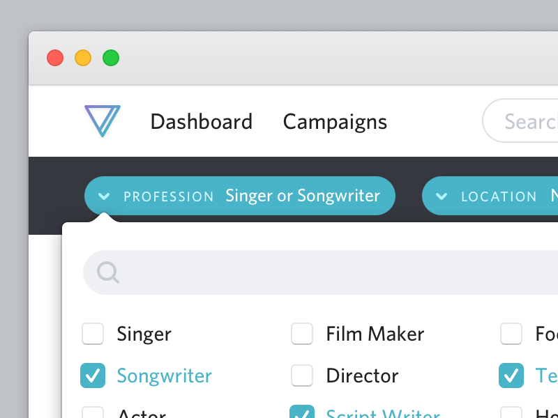 Profession: Singer or Songwriter dropdown checkmark icon design retina 2x user experience user interface ux ui design