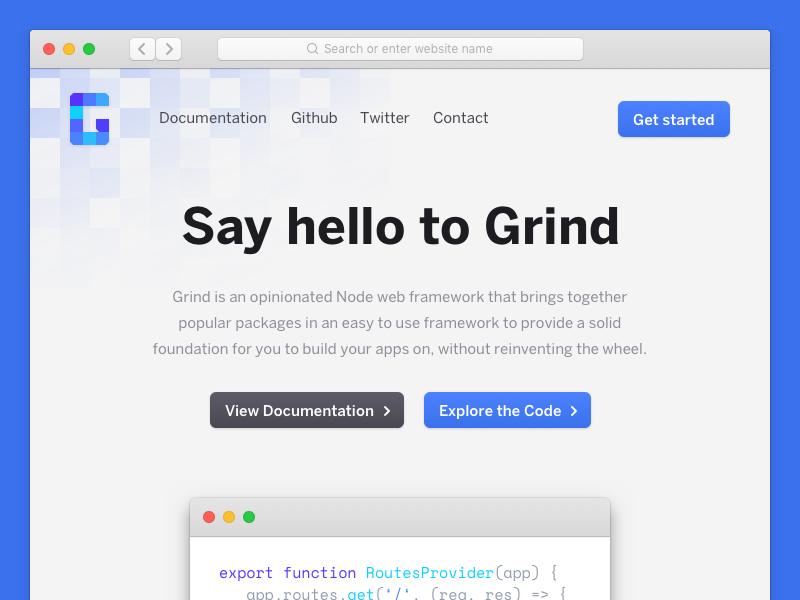 grind.rocks branding marketing page front-end design website user interface ux ui design