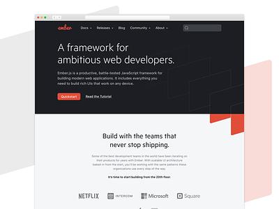 Emberjs.com redesign ember emberjs landing page landing page design website design user experience user interface ux ui design