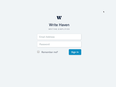 Write Haven log in sign in sign in screen webflow input fields video user experience user interface ux ui design