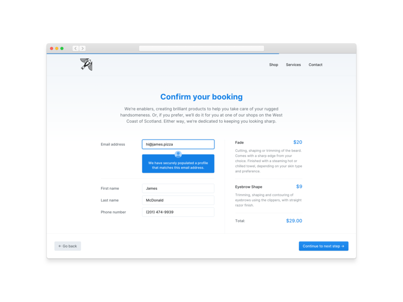 Populated Details input fields icons interface ux user experience user interface ui design