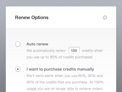 Renew Options popup ui ux radio buttons button interface