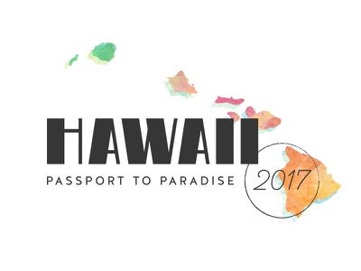 Hawaii lettering watercolor identity logo