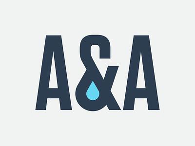 A&A droplet water logo branding identity
