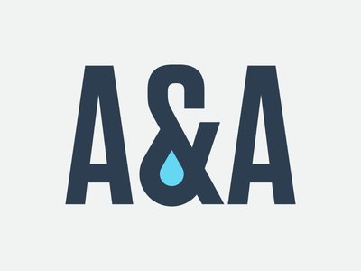 A&A droplet water logo branding identity