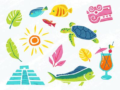 Tropical sun leaf beach mayan turtle fish tropical illustration