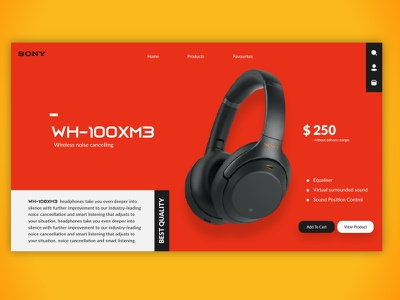 Sony Headphones minimal website brand identity uiux webdesign web ui trendy trend branding brand