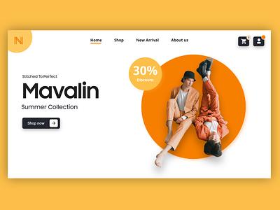 Cloth Shop UI landingpage web new design trendy trend ecommerce shop clothes orange minimal brand branding uidesign ui