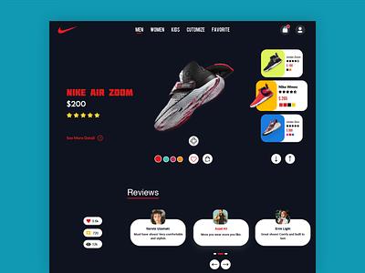 Nike Shoe Store Concept design brand new trendy trend popular shot dark ui dark minimal website design webdesign website uidesign uiux ui web